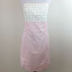 Lilly Pulitzer Strapless Lace Gingham Pink Dress